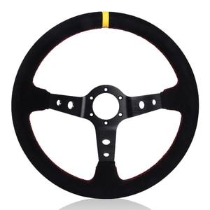 Image 2 - 350mm 14 inç araba direksiyon süet deri sürüklenme yarış oyunu direksiyon evrensel
