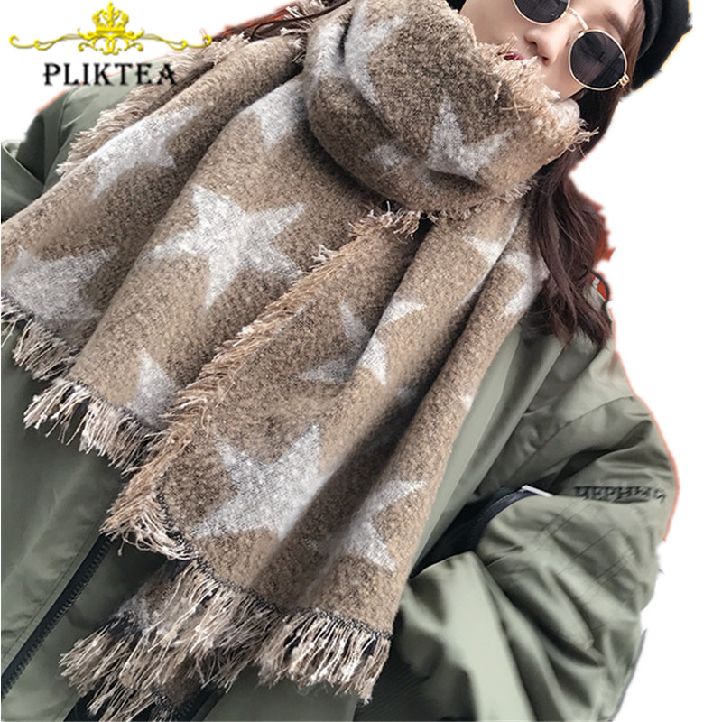Print Stars Scarf For Women Warm Thick Warm Pashmina Wool Blends Khaki Poncho Cashmere Female Pink Shawl Wool Blanket Scarves