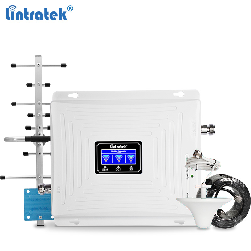 Lintratek Triband Signal Booster 2G 3G 4G LTE Repeater 900 1800 2100 2600MHz  Amplifier 4G 1800 2600 Network Booster 900 2100