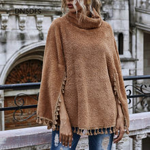 New Brand Quality Autumn Winter Fleece Capes & Ponchos Women Fashion Tassel Solid Color High Collar Leisure Loose Batwing Capes
