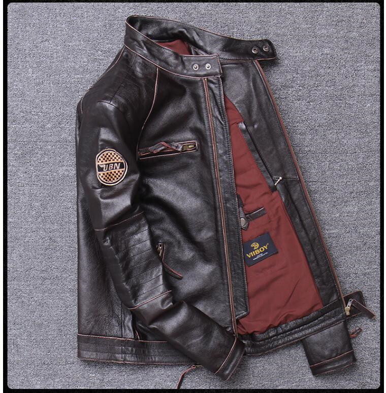 H0079dff8be794beaa33143eddf5a9e57V 2019 Vintage Brown Men Slim Fit Motorcycle Leather Jacket Plus Size XXXXL Genuine Cowhide Spring Biker's Coat FREE SHIPPING