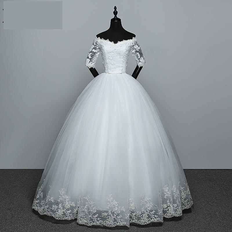 Wedding Dress 2021 New Arrival Flowers Butterfly Gelinlik Embroidery Lace Boat Neck...
