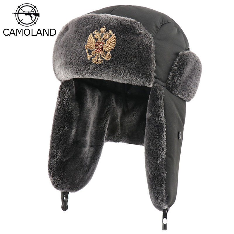 Soviet Badge Russia Ushanka Hat Waterproof Bomber Hats Pilot Trapper Trooper Hat Winter Faux Rabbit Fur Earflap Men Snow Caps