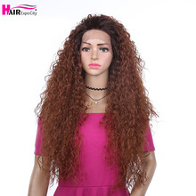 24inch Long Kinky Curly Wig Afro Fluffy Hair Synthetic Lace Front Wig For Black Women Heat Resistant Ombre Brown Hair Expo City fluffy curly heat resistant synthetic long lace front wig