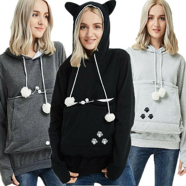 2019 fashion long sleeve casual hooded Kangaroo Pet Dog Cat Holder Carrier Pregnancy Coat loose Sweatshirt Pregnancy Pocket Top 1