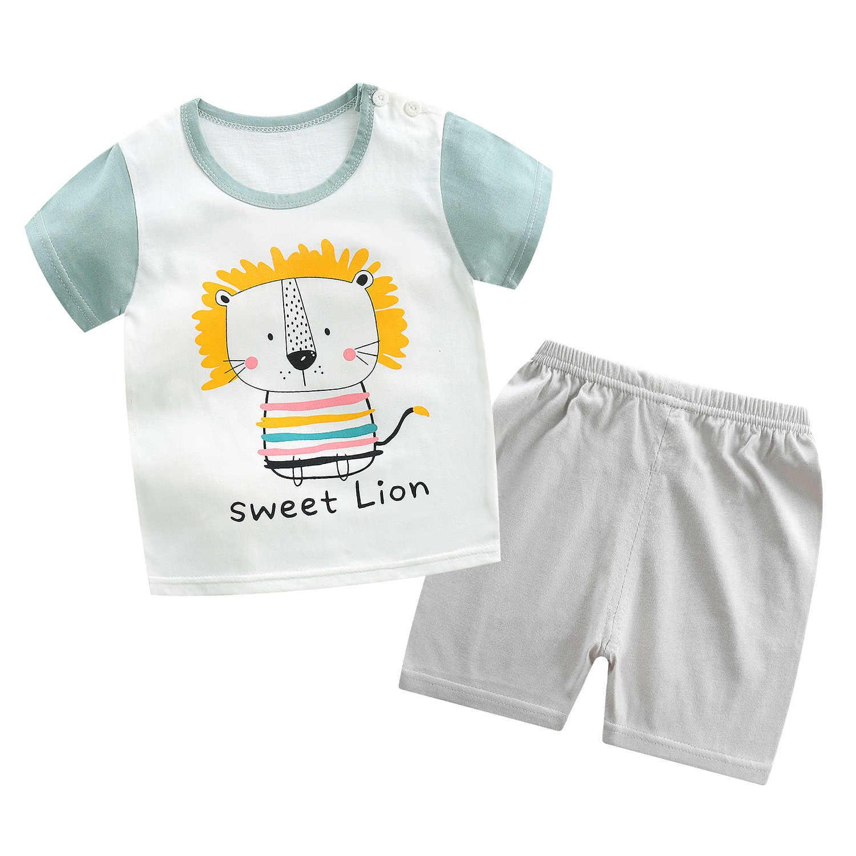 Conjunto de 2 unidades Unisex para niños de 6 a 4 años, conjunto de 100% de algodón para verano del 2020, conjunto de manga corta para niños y niñas