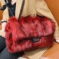 Зимняя мягкая вместительная сумка-мессенджер, стильная плюшевая сумка, меховая сумка на плечо, женские дорожные однотонные сумки
