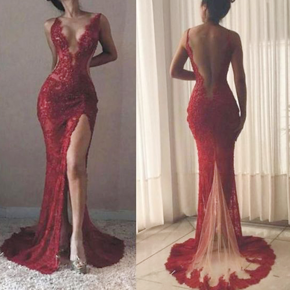 sexy prom dresses 2020 lace deep v neck front slit backless evening red