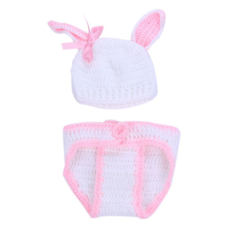 Fashion Unisex Newborn Boy Girls Crochet Knitted Baby Outfits Costume Set Photography Photo Props-Pink Rabbit thumbnail