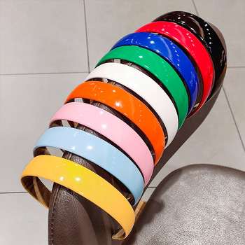 2020 New Fashion Shiny PU Leather Head Hoop Girls Hair Accessories Sweet Hairbands Candy Color Hair Hoop Wide Headband Head Wrap image