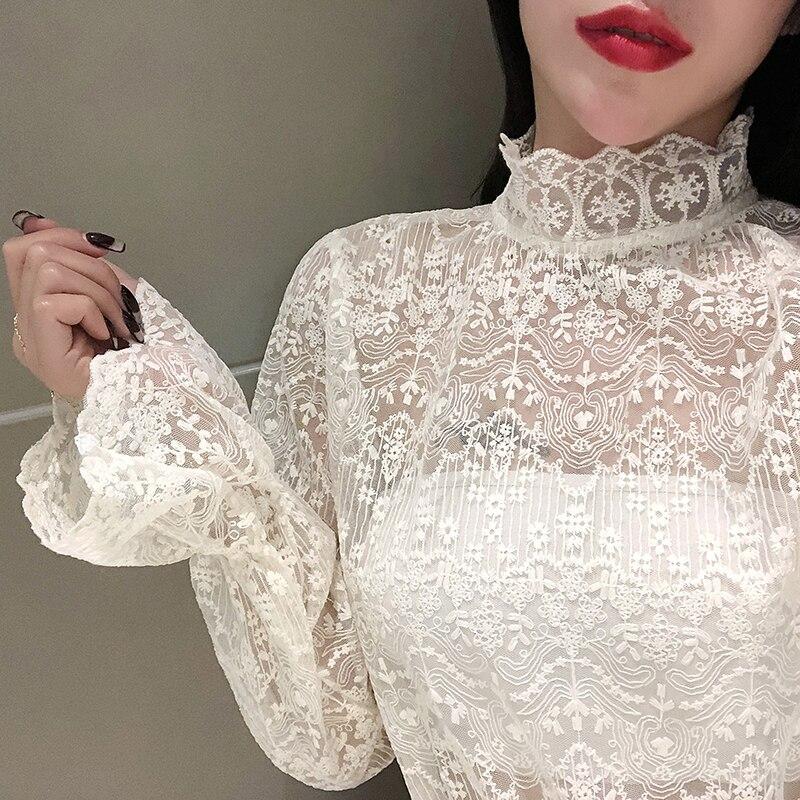 Весна 2020, популярные кружевные блузки для девочек, футболки, женские эластичные блузки с длинным рукавом и воротником-стойкой, топы для женщ...