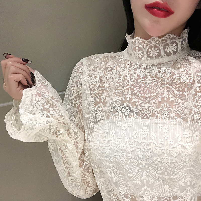 2020 Spring Popular Girls Lace Blouses Shirts Tees Female Stand Neck Full Flare Sleeve Elasticity Blouses Tops For Women
