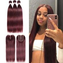 99J/Burgundy Red Hair Bundles With Closure 4x4 Brazilian Straight Colored Human Hair