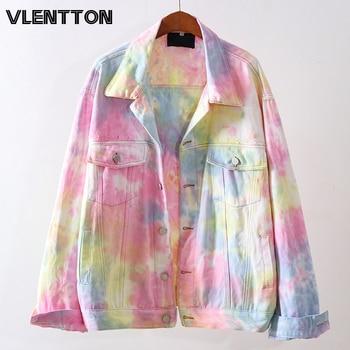 2020 Spring Autumn Women Fashion Vintage Gradient Denim Jacket Casual Loose Jean Coat Female Outerwear Korean Cowboy Tops Ladies 1