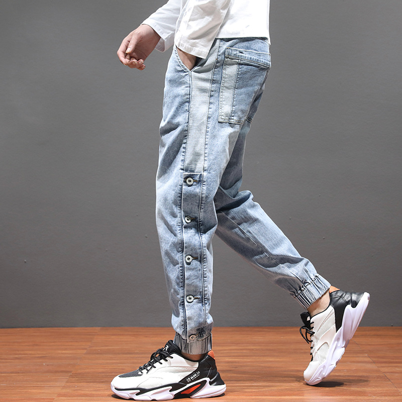 spring autumn 2020 Harem jeans men's brand straight loose sense wide leg students teenagers Korean wild elastic waist trousers