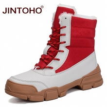 JINTOHO moda kobiety skórzane buty połowy łydki kobiety buty ciepłe zimowe buty na śnieg kobiety śnieg buty buty damskie buty damskie tanie tanio Cotton Fabric Pasuje prawda na wymiar weź swój normalny rozmiar Okrągły nosek Zima Lace-up Mieszane kolory Dziwne styl