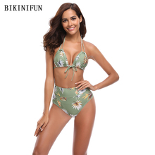 New Sexy Mint Green Floral Bikini Women Swimsuit Double Straps Swimwear S-XL Girl Backless Halter Bathing Suit High Waist