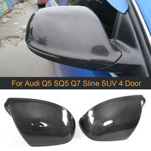 Replace Carbon Fiber Rearview Mirror Covers Caps for Audi Q5 SQ5 Q7 S line SUV 4 Door 09-17 Q7 09-15 Back Side Mirror Cover Caps
