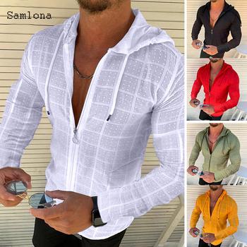 Moda długi krótki rękaw bluza z kapturem Zipper T shirt mężczyźni odzież lato jednolity kolor Casual nadruk w szkocką kratę otwórz ścieg cienki Tshirt mężczyzna tanie i dobre opinie Samlona Daily SHORT CN (pochodzenie) COTTON POLIESTER Na wiosnę i lato Na co dzień Z okrągłym kołnierzykiem tops Z KRÓTKIM RĘKAWEM