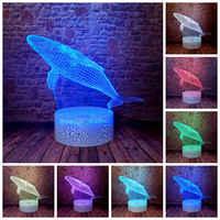 Figuras de animales de mar parpadeantes modelo 3D LED para dormir luz nocturna colorida cambiante tiburón tortuga delfín Animal figura Juguetes