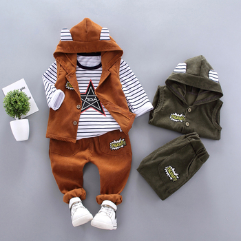 цена на Spring Autumn Children Baby Casual Hooded Vest Pants 3pcs/sets Infant Sports Clothes Outfit Toddler Suits Boys Kids Tracksuits