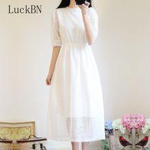 Verão feminino laço branco vestido longo coreano chique doce rendas até magro vestido longo meia manga elegante preppy midi vestido 2021 novo