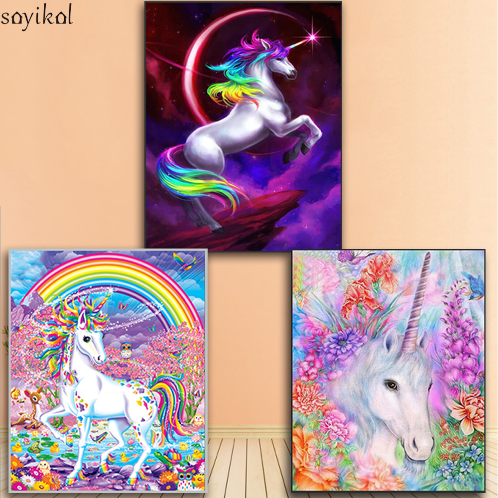 Paint By Numbers For Children Moonlight Unicorn DIY Oil Painting By Number With Frame Mural Kits Coloring Wall Art Picture Gift
