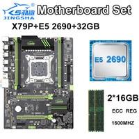 JINGSHA X79P LGA 2011 motherboard set with E5 2690 8 Core Server Desktop Processor and 2x16GB=32GB 1600MHz DDR3 ECC REG memory