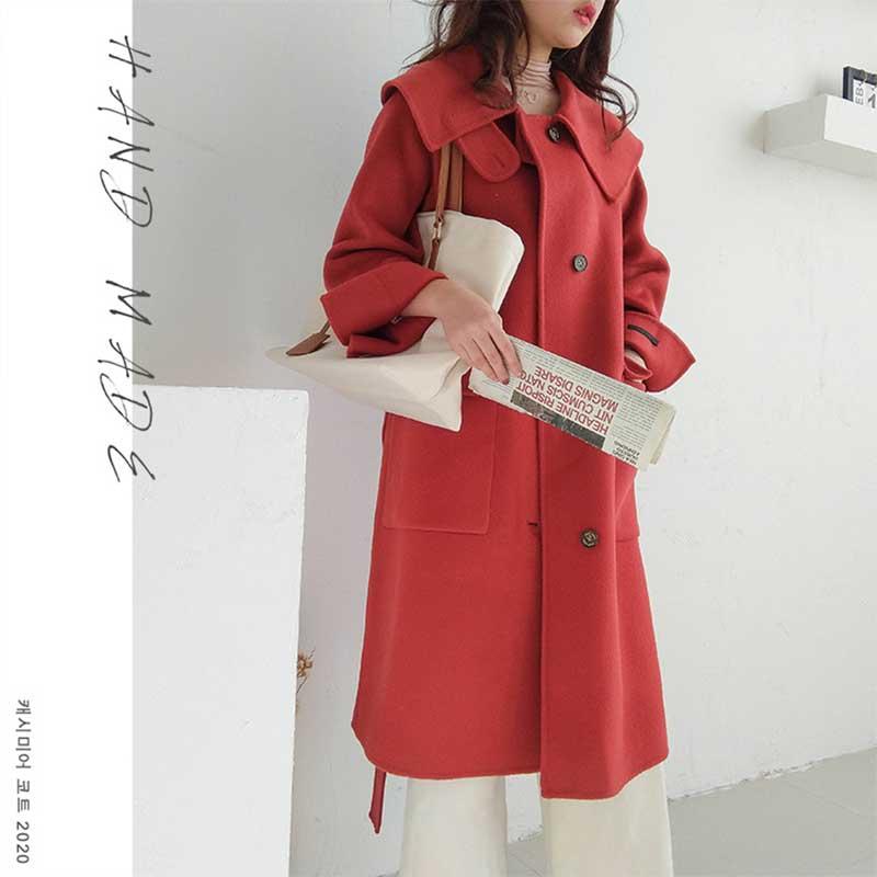 Femmes printemps hiver fait à la main 100% laine manteau large revers simple boutonnage cachemire manteau rouge avec grande poche