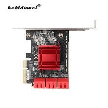 PCI Express – carte d'extension SATA 3.0 vers PCIe, 6 Ports, 4X, adaptateur SATA 3, convertisseur avec dissipateur thermique, pour puce ASM1166