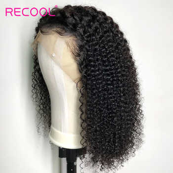 Recool Curly Human Hair Wig Short Bob Lace Front Human Hair Wigs High Ratio Pre Plucked 150 Density Brazilian Lace Front Wigs