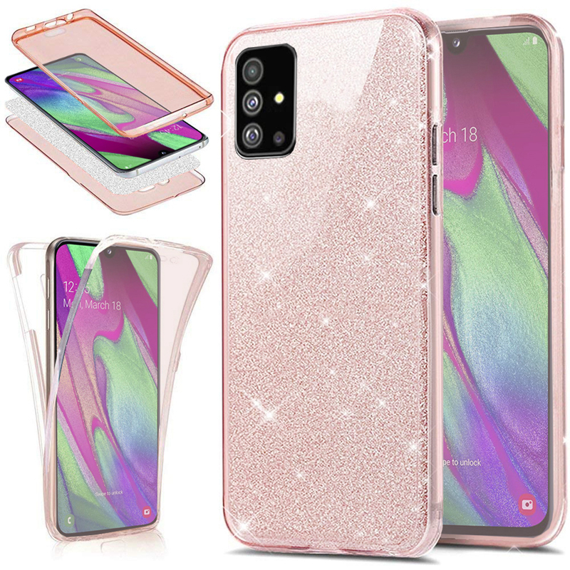 360 Full Protection Glitter TPU Case For Coque Samsung Galaxy S20 S10 S9 S8 Plus A51 A81 A91 A01 A41 S10 Note 10 Lite Fundas