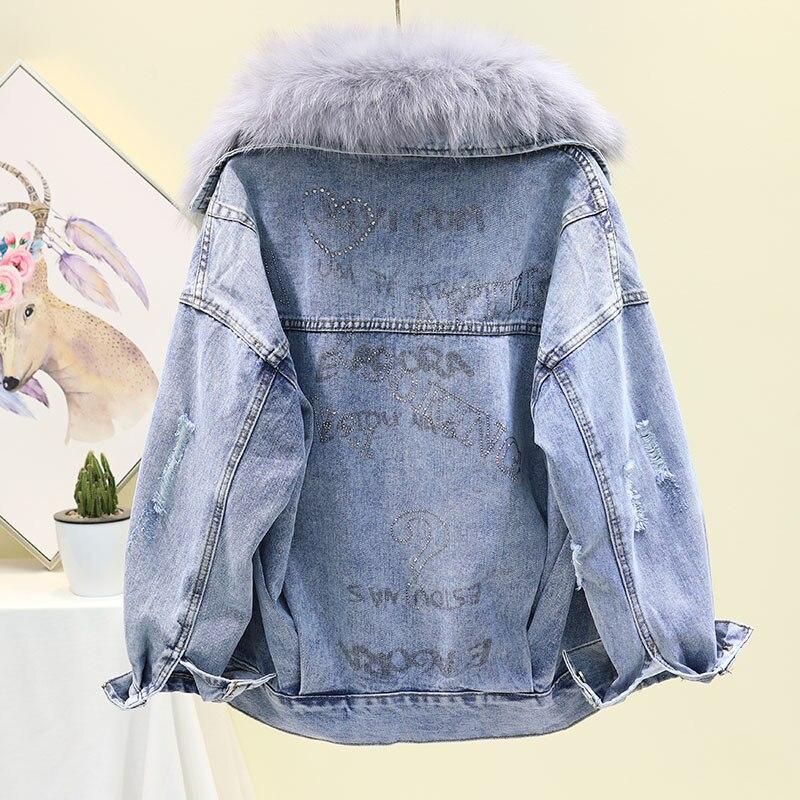 Джинсовая куртка с большим меховым воротником, женское базовое пальто, зимняя съемная подкладка из кроличьей шерсти, Толстая теплая джинсовая куртка, свободное женское джинсовое пальто