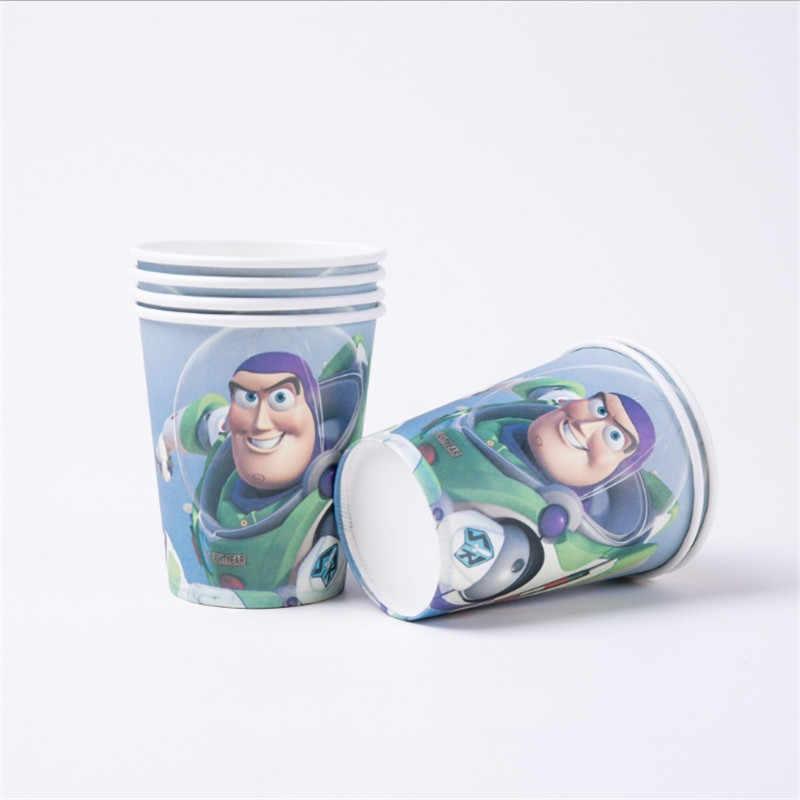 Kokoer Cartoon Toy Story Wegwerp Papieren Servetten Banner Tafelkleed Rietjes Cup Platen Baby Shower Verjaardagsfeestje Decoratie