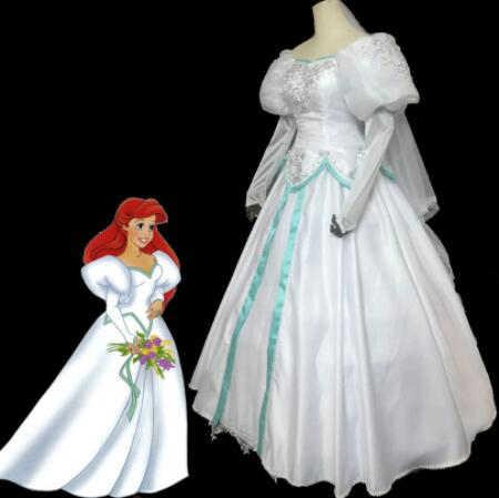 The Little Mermaid Ariel Costume Cosplay Halloween White Wedding Dress