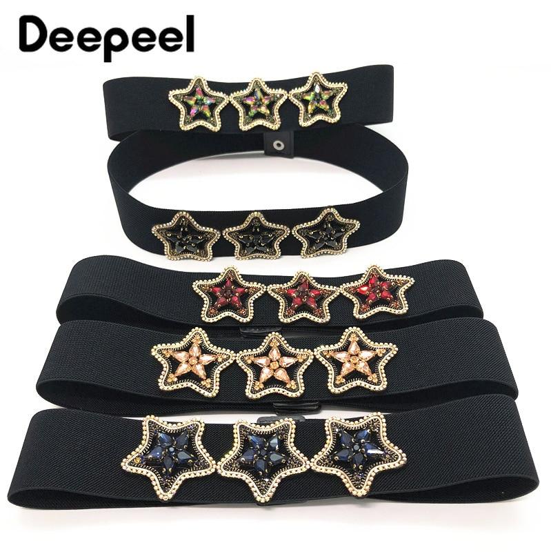 Deepeel 1pc 5*65-95cm Women Pentagram Diamond Sequins Cummerbunds Elastic Wide Waist Hige Waist Belt For Dress Down Jacket CB644