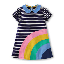 Children Clothing Striped Fashion Casual Kids Girls Dress Rainbow Dresses for Baby Summer Appliques Cotton