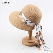 USPOP 2020 חדש נשים כובעי קיץ קש שמש כובעי רומנטי ארוך שיפון הדפסת סרט החוף רחב שוליים קש כובע