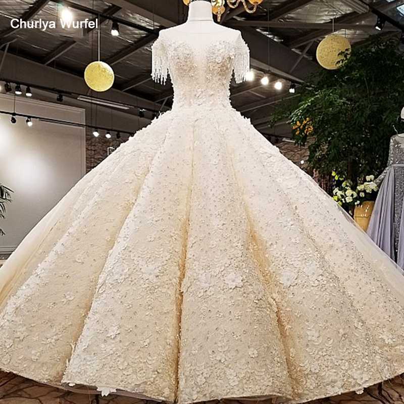 LS12470 2018 Luxury wedding dress o-neck  ball gown lace up ivory and champagne bridal gowns with long train as photos