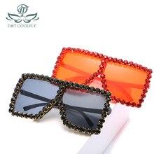 D&T 2020 New Fashion Square Sunglasses Women Luxury Brand Designer Colorful PC L