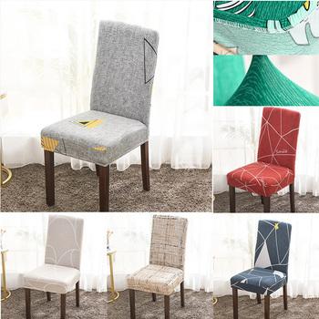 Pokrowce na krzesło z tkaniny na pokrowce na krzesła do jadalni elastan elastyczne pokrowce na krzesła do kuchni wysokie krzesło do karmienia tanie i dobre opinie LLS006 PRINTED Nowoczesne Plaża krzesło Fotel Hotel krzesło Ślub krzesło Bankiet krzesło Elastan poliester