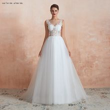 A-Line Soft Tulle Cheap Wedding Dress See Through Bodice with Lace Appliques Sweep Train Bridal Dress(China)