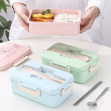 Portable Microwave Lunch Box Wheat Straw Dinnerware Food Storage Container Children Kids School Office Sealed Heated Bento Box 1100ml microwave lunch box wheat straw dinnerware food storage container children school office portable bento box kitchen tools