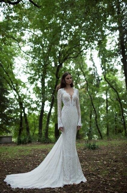 Free Shipping New Design Long Sleeve Vestido De Noiva Casamento Robe De Soiree 2016 Sexy Backless V-neck Lace Wedding Dresses