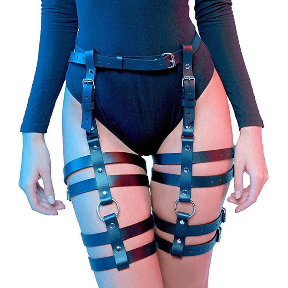 Women Faux Leather Leg Harness Thigh Holster Garter Waist Ring Belt Club Outfits Nightclub Harajuku Belt 2020