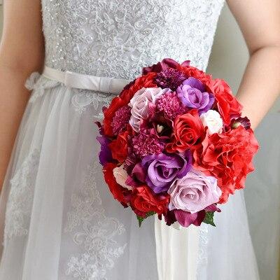 Bouquet de mariée Rose rouge et violet Bouquet de fleurs blanches artificielles Mariage Bouquets mariée tenant Bouquet décoration Mariage