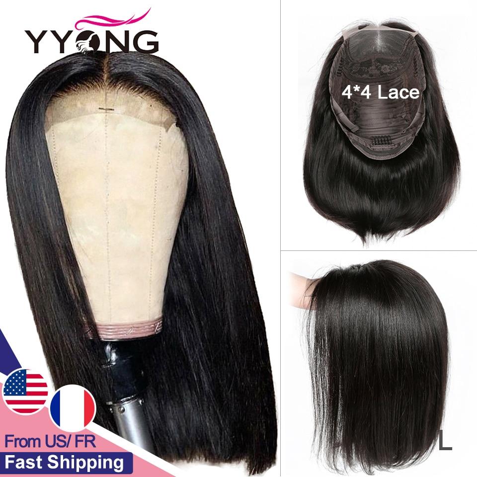 Yyong 4x4 Veletta Nella Chiusura Parrucche Blunt Cut Bob Parrucca Peruviana Capelli Lisci Veletta Nella Chiusura Parrucche Per Donna Nera Umani di Remy dei capelli Basso Rapporto