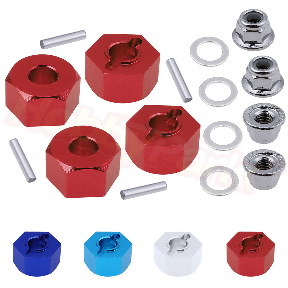 Aluminum Hex Wheel Hubs and M4 Flanged Lock Nuts Set for Traxxas Slash 2WD 1/10 Short Course Upgrade Parts 1654 3654(China)