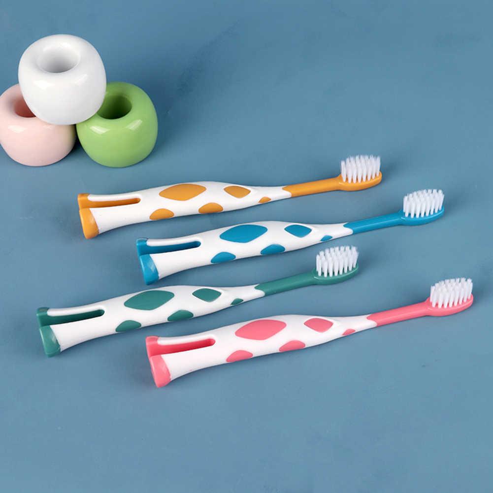 4 pçs escova de dentes do miúdo dos desenhos animados girafa cerdas macias bonito oral dental dentes cleaner menina menino escova de dentes cerdas macias oral limpo ferramenta