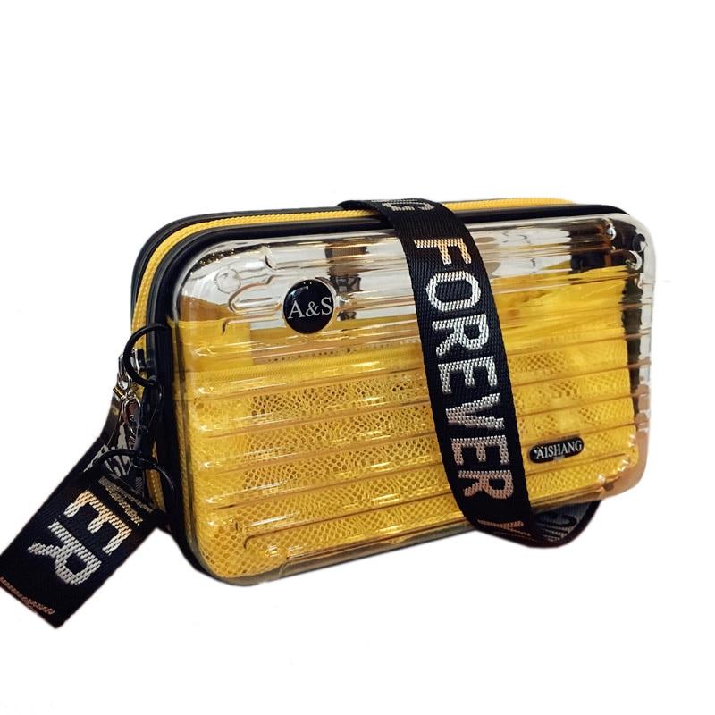 LOVEVOOK Crossbody Bags For Women 2019 Transparent PVC Bag With Net Fashion Handbag Female Mini Suitcase Make Up Bag For Travel